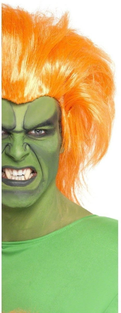Blanka Wig Fancy Dress Mens - Orange
