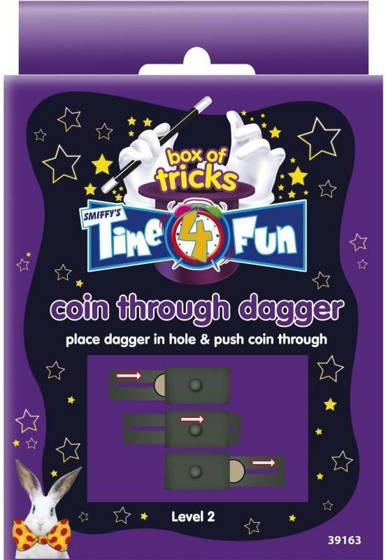 Time 4 Fun Magic Tricks, Coin Through Dagger (Fancy Dress Tricks)