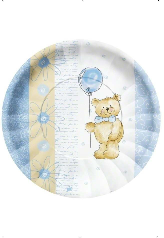 Teddy Bear Blue Party Plates Fancy Dress