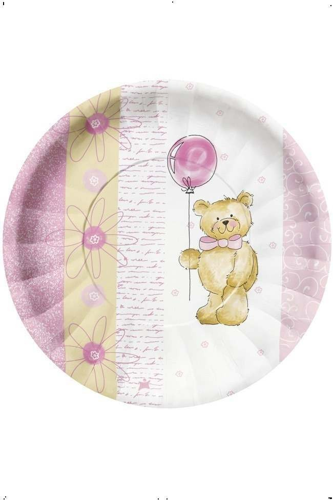 Teddy Bear Pink Party Plates Fancy Dress