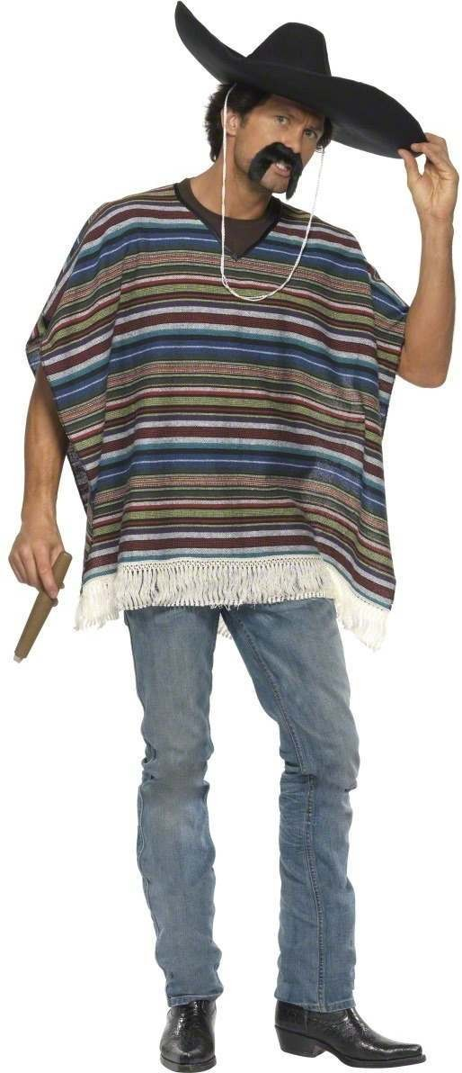 Authentic Looking Poncho Fancy Dress Mens (Cultures)