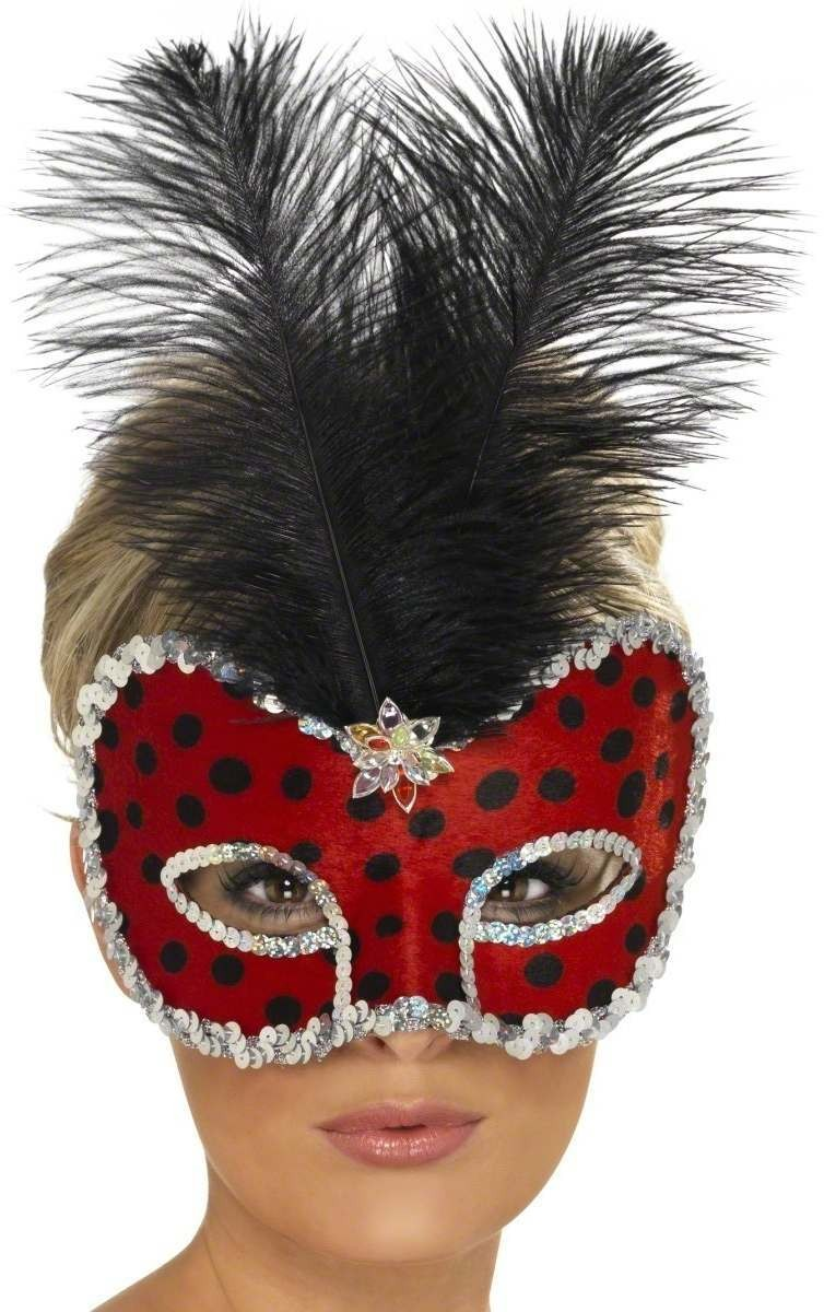 Lady Bug Visage Eyemask With Feather Fancy Dress Ladies