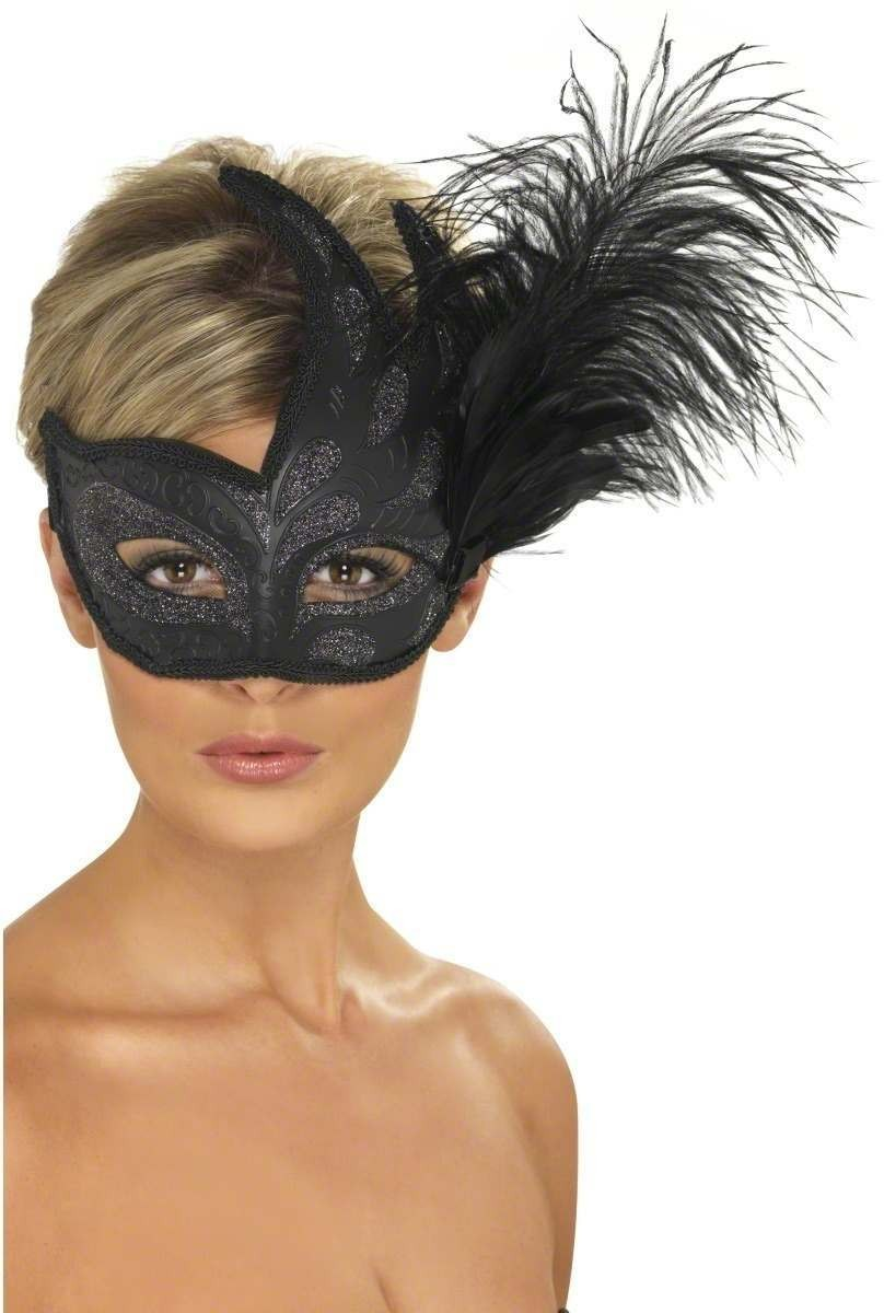 Ornate Colombina Feather Mask Fancy Dress