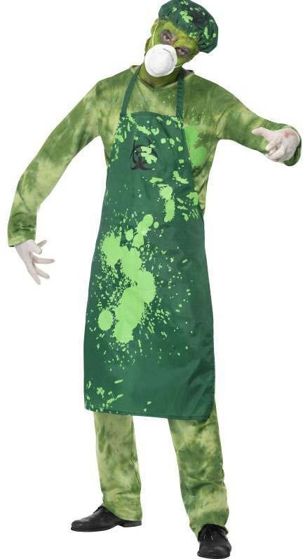 Mens Green Biohazard Male  (Fancy Dress Costume)