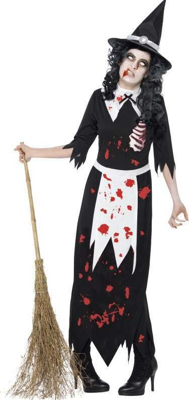 Ladies Black Zombie Authentic Salem Witch  (Fancy Dress Costume)