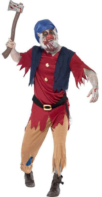 Mens Multicolour Zombie Dwarf  (Fancy Dress Costume)