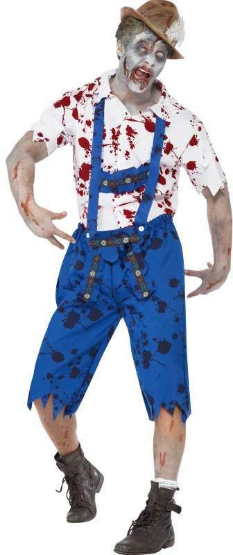 Mens Blue/White Zombie Bavarian Male  (Fancy Dress Costume)