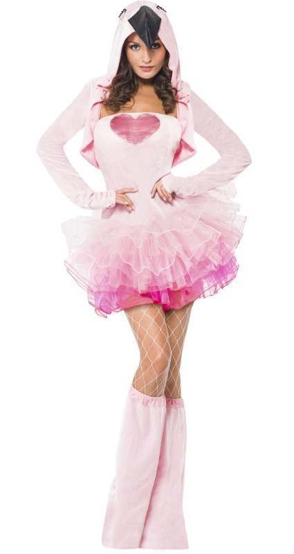 Ladies Pink Flamingo Bird Tutu Fancy Dress Costume