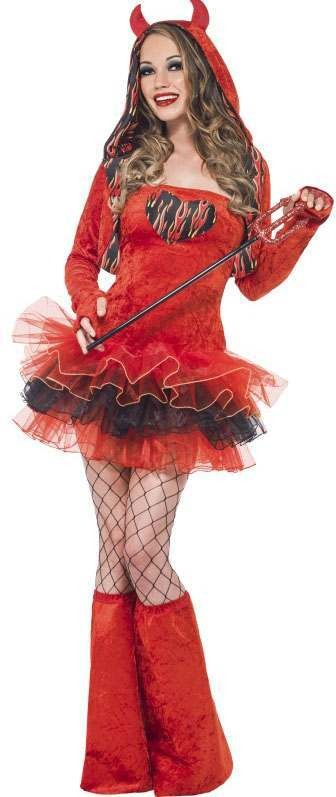 Ladies Red Fever Devil Tutu Dress With Detachable Straps