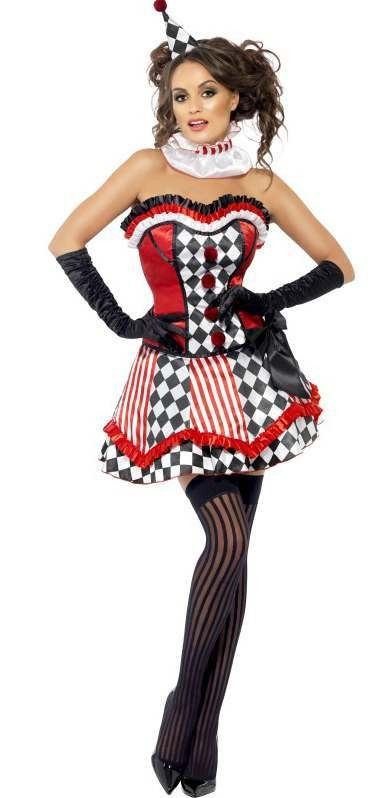 Ladies Deluxe Fever Alice Clown/Jester Fancy Dress Costume