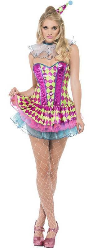 Ladies Neon Harlequin Clown Fancy Dress Costume