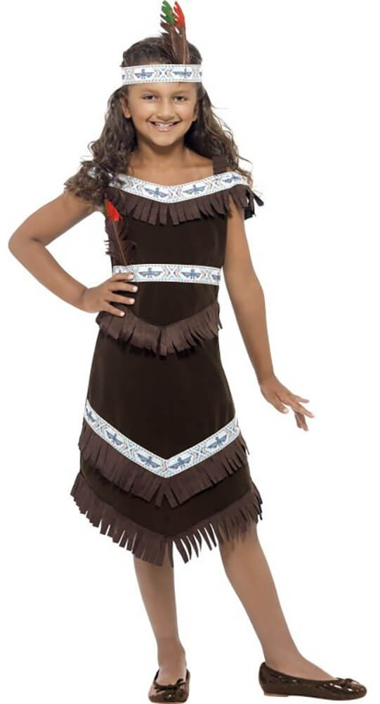 Girls Brown Native Indian Tribe Girl Fancy Dress Costume