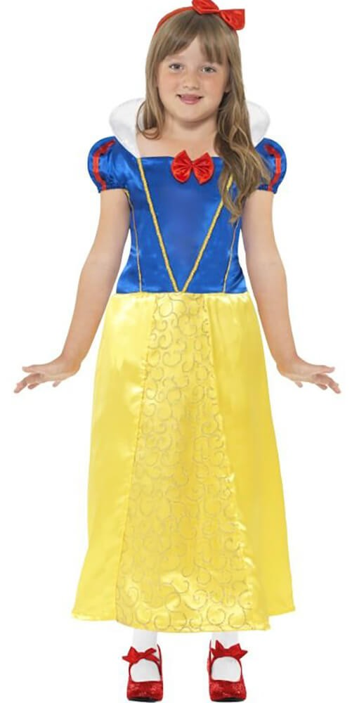 Girls Yellow Snow Princess Fancy Dress Costume