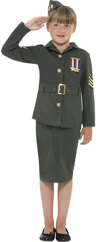Girls Green WW2 Army Girl Fancy Dress Costume