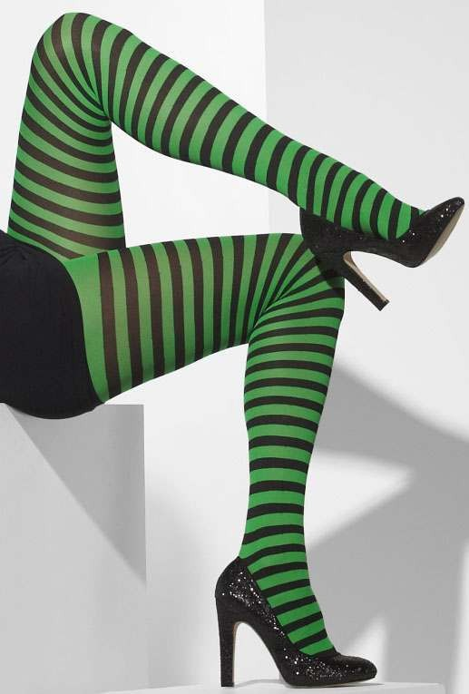 Ladies Green & Black Opaque Tights