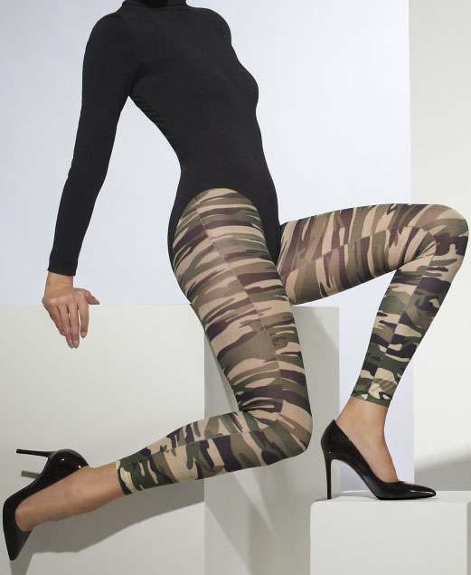 Ladies Camouflage Opaque Footless Tights Army Style