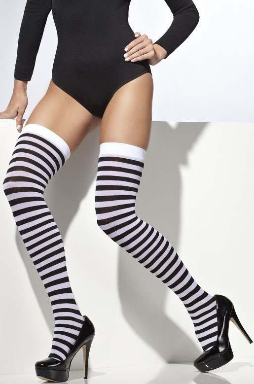 Ladies Black And White Alice Style Opaque Hold-Ups