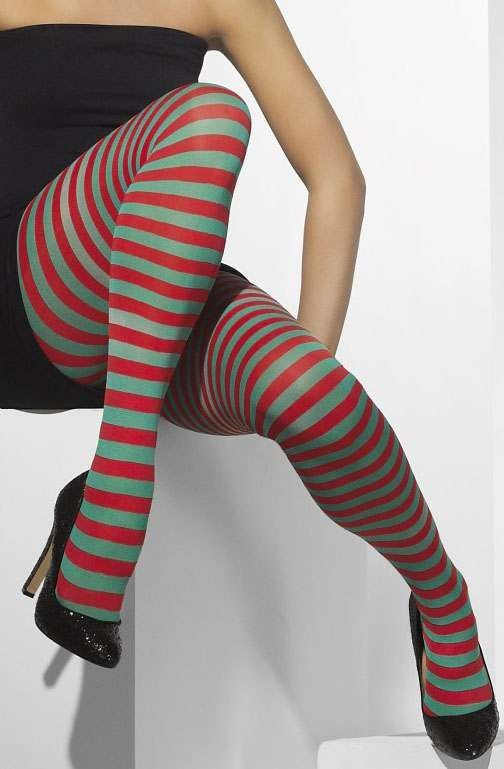 Ladies Red And Green Opaque Tights