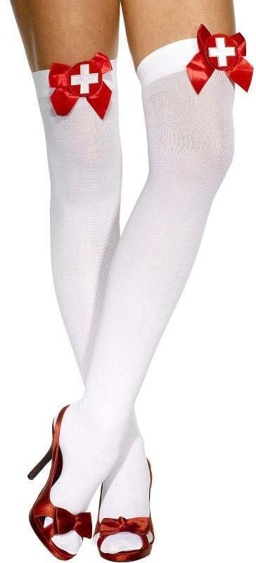 Ladies White With Red Bow & White Cross Nurse Style Opaque Hold-Ups