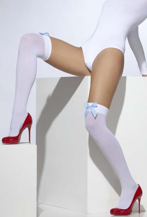 Ladies White Opaque Hold-Ups With Blue Gingham Bow'S.
