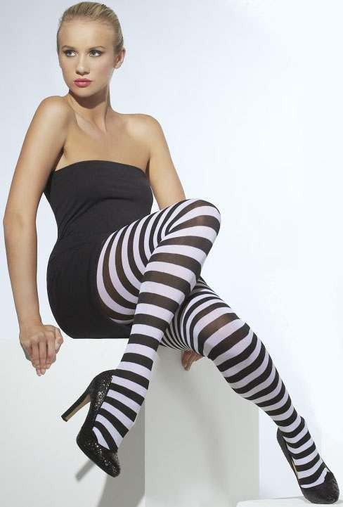 Ladies Black & White Opaque Tights