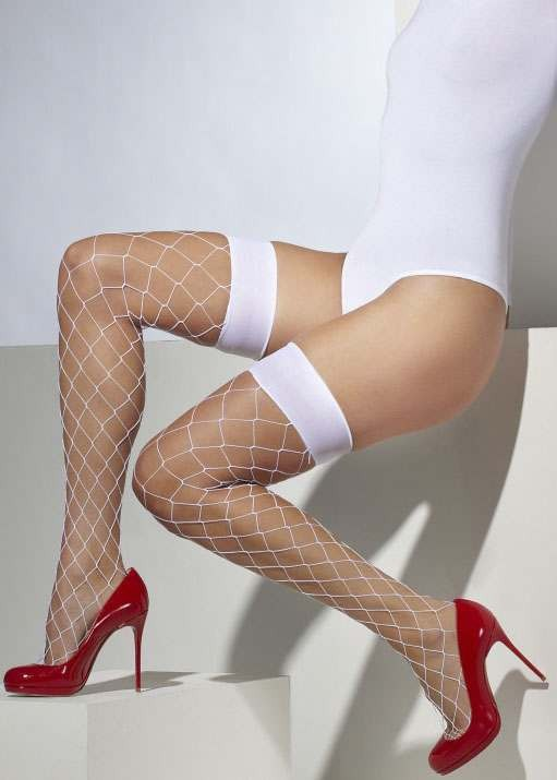 Ladies White Diamond Net Hold-Ups
