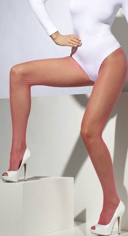 Ladies Neon Pink Lattice Net Tights