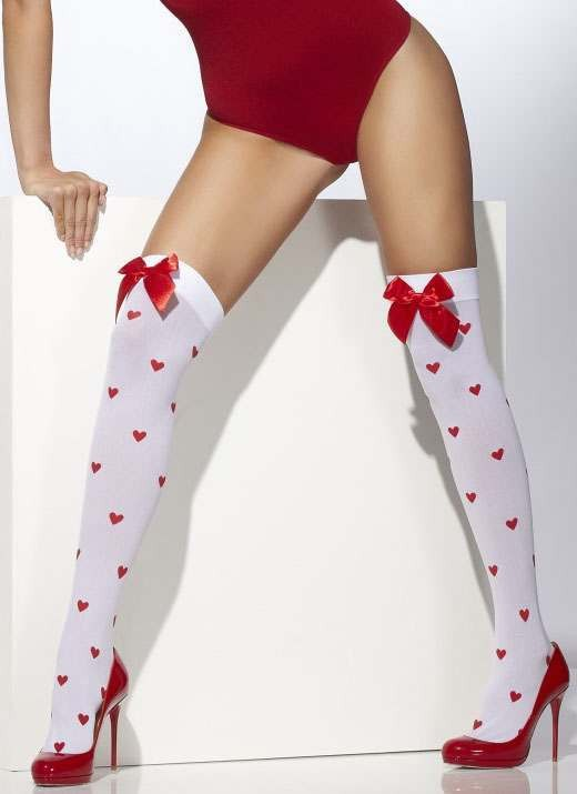 Ladies White Hearts Style Opaque Hold-Ups