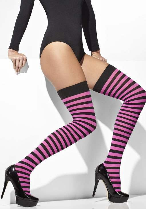 Ladies Pink & Black Opaque Striped Hold-Ups