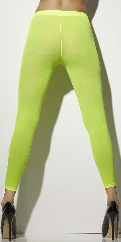 Ladies Neon Green Opaque Footless Tights 80'S/Punk Style
