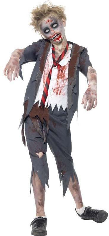 Boys Grey Zombie School Boy  (Fancy Dress Costume)