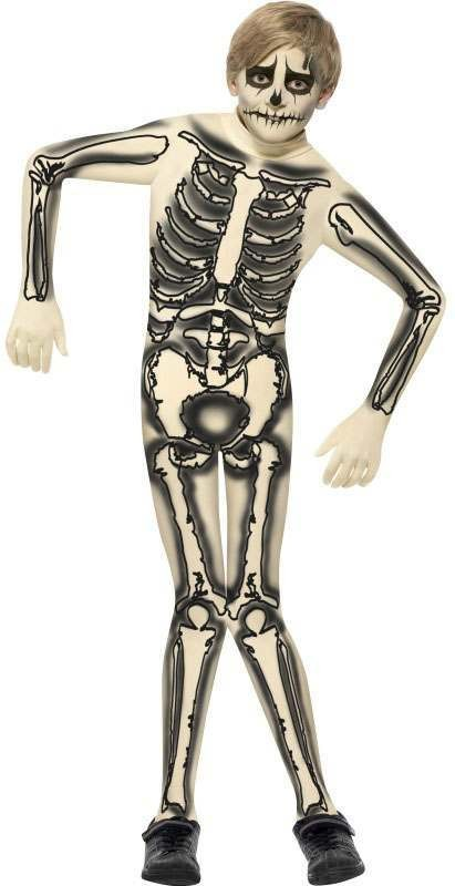 Boys Black/White Skeleton Second Skin  (Fancy Dress Costume)