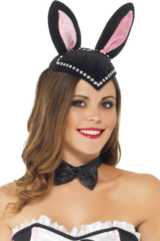 Ladies Black Burlesque Bunny Skull Cap Fancy Dress Accessory