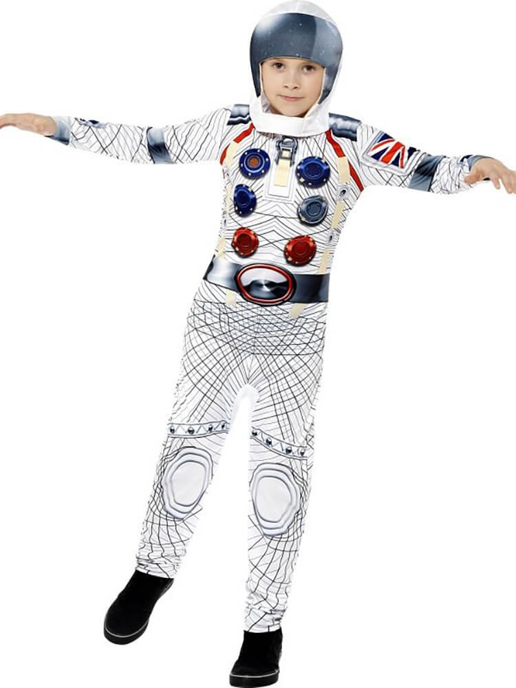 Boys White Deluxe Astronaut/Spaceman Fancy Dress Costume