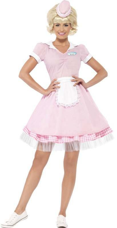 Ladies Pink Diner Girl Fancy Dress Costume