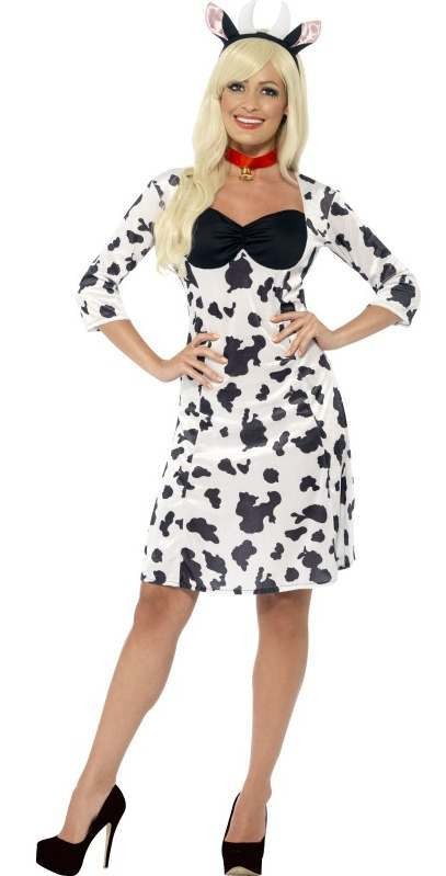 Ladies Cute Black/White Cow Fancy Dress Costume