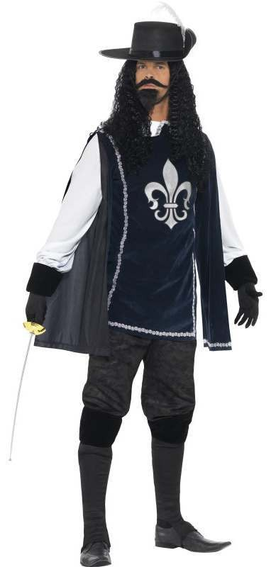 Men'S Blue/Black Musketeer Fancy Dress Costume