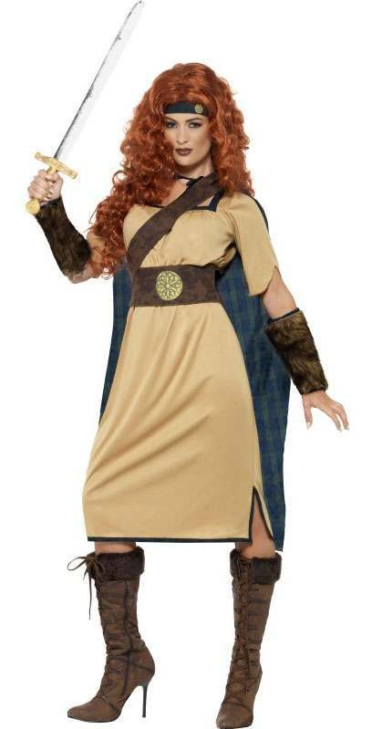 Ladies Brown Viking/Celtic Highland Warrior Queen Fancy Dress Costume