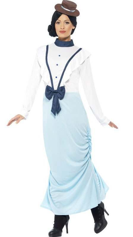 Ladies Blue Posh Victorian Lady Fancy Dress Costume