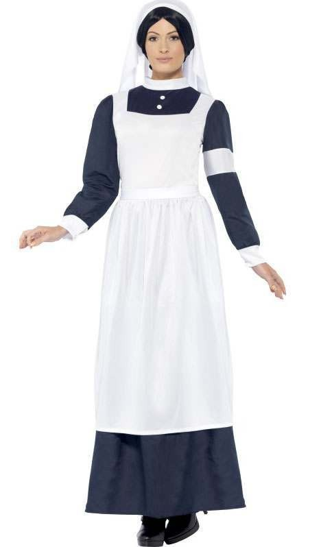 Ladies Blue/White Florence Great War Nurse Fancy Dress Costume