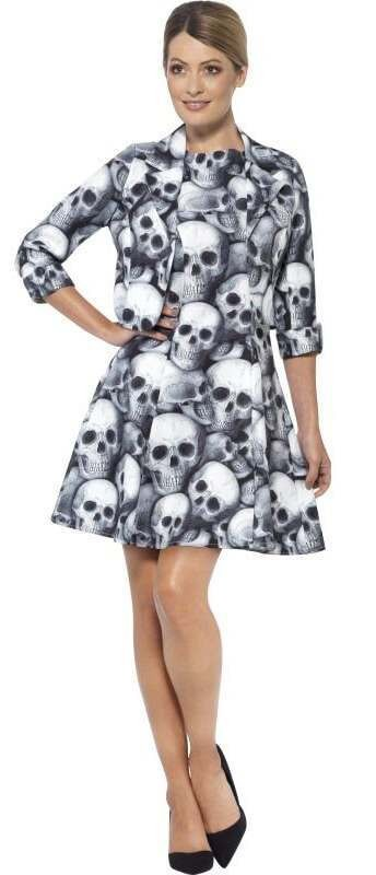 Ladies Black&White Skeleton Stand Out Suit Fancy Dress Costume