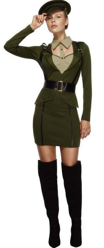 Ladies Green Sexy Fever Army Captain Fancy Dress Costume