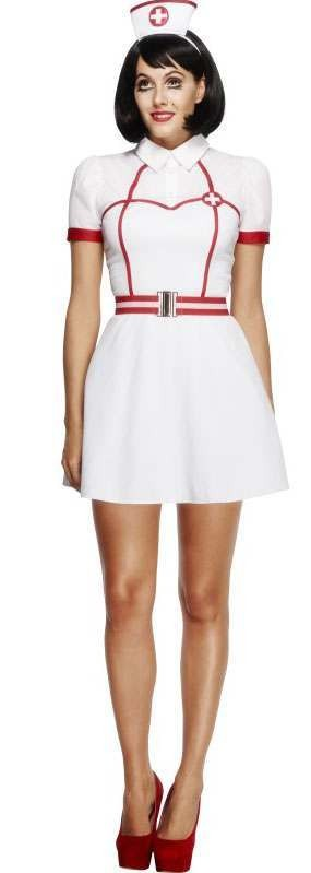 Ladies White Fever Naughty Bed Side Nurse Fancy Dress Costume
