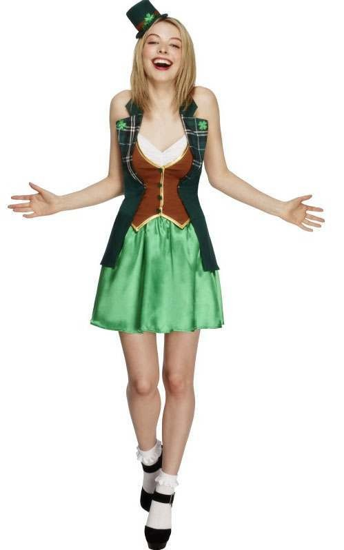 Ladies Green Sexy Fever St Patricks Leprechaun Fancy Dress Costume