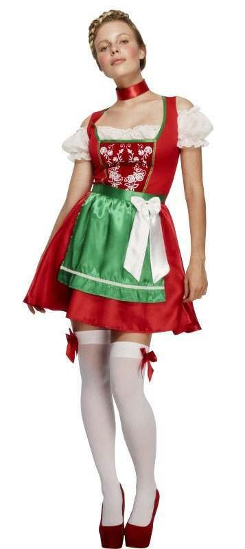 Ladies Fever Christmas Dirndl Fancy Dress Costume