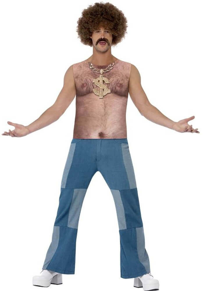 Mens Realistic 70's Hairy Chest Fancy Dress Costume