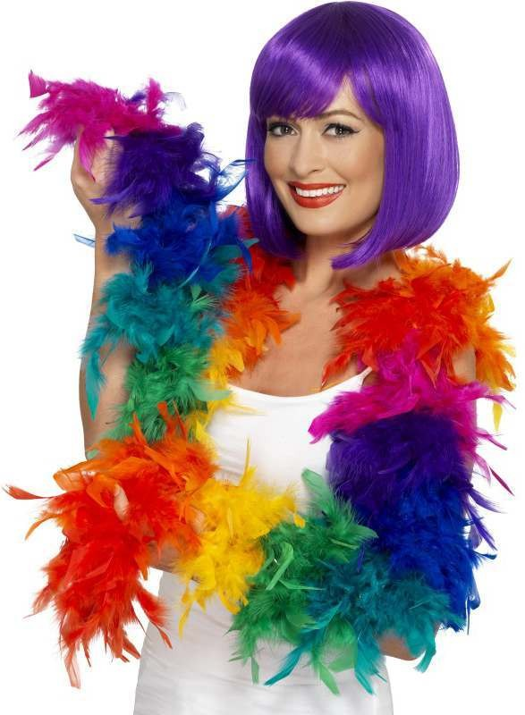 Rainbow Feather Boa 80G Fancy Dress Accessory