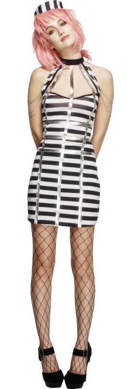 Ladies Fever Night Prisoner Criminal Fancy Dress Costume
