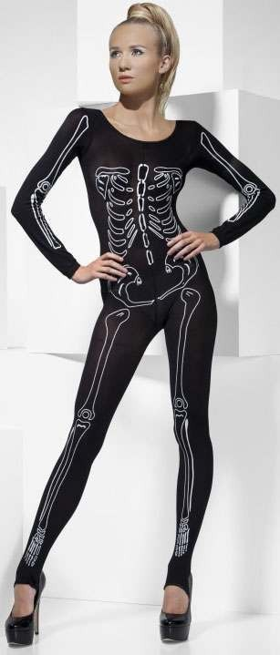 Ladies Black Skeleton Print Bodysuit
