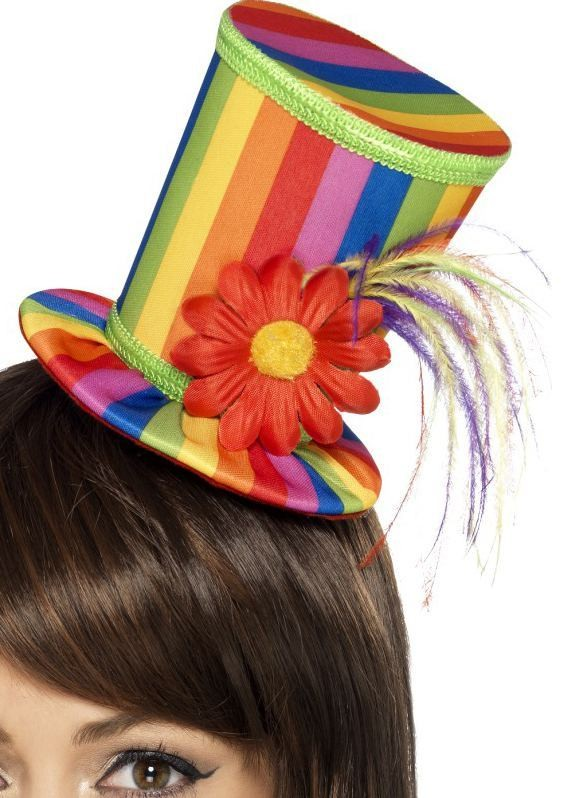 Ladies Rainbow/Circus/Party Mini Top Hat Fancy Dress Accessory